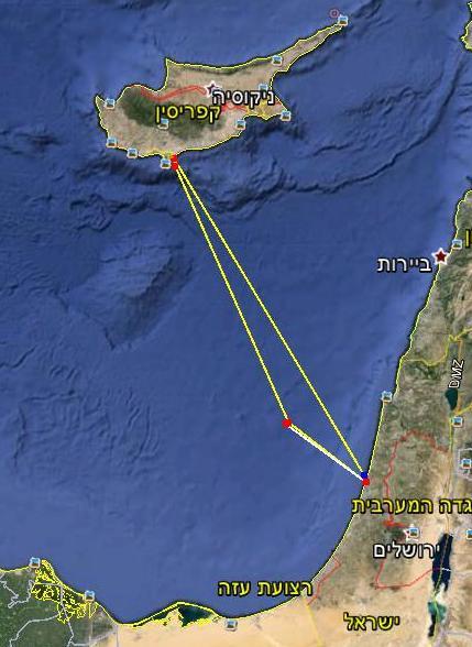 מישראל לקפריסין במפה